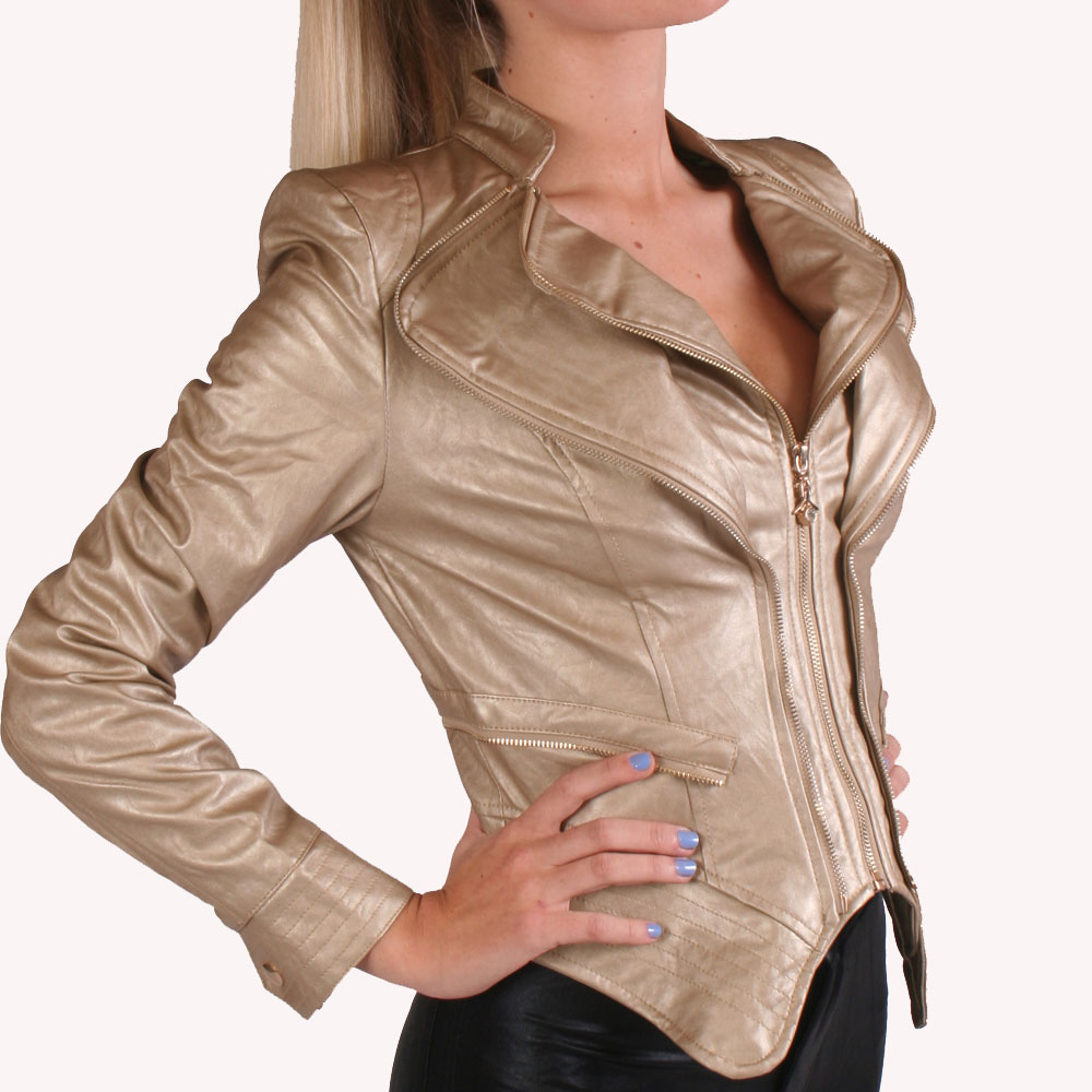 Ladies Gold Unique Sexy Biker Style Jacket