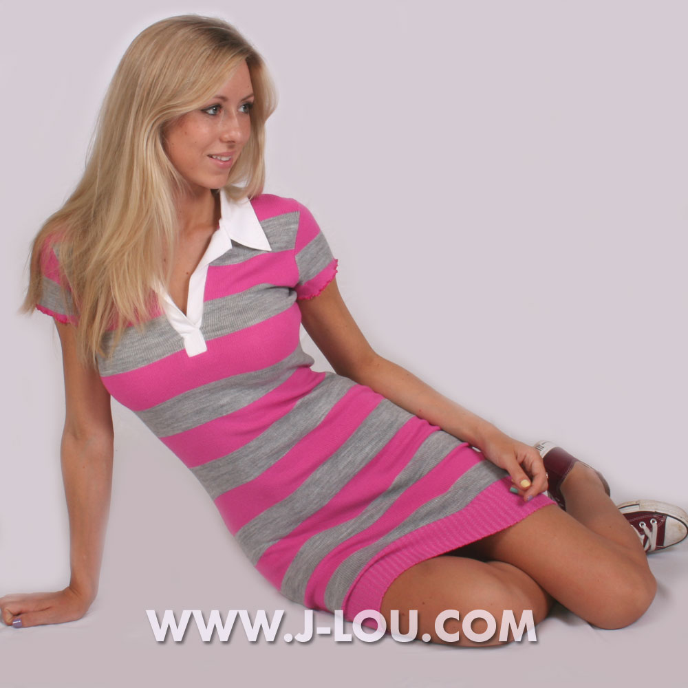 Sexy Ladies Cotton Striped Rugby Dress