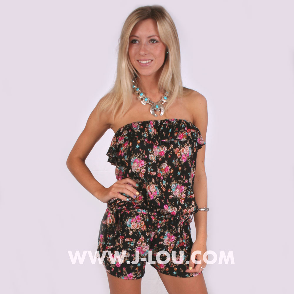 Ladies Flowered Black Boho Sexy Shorts Playsuit