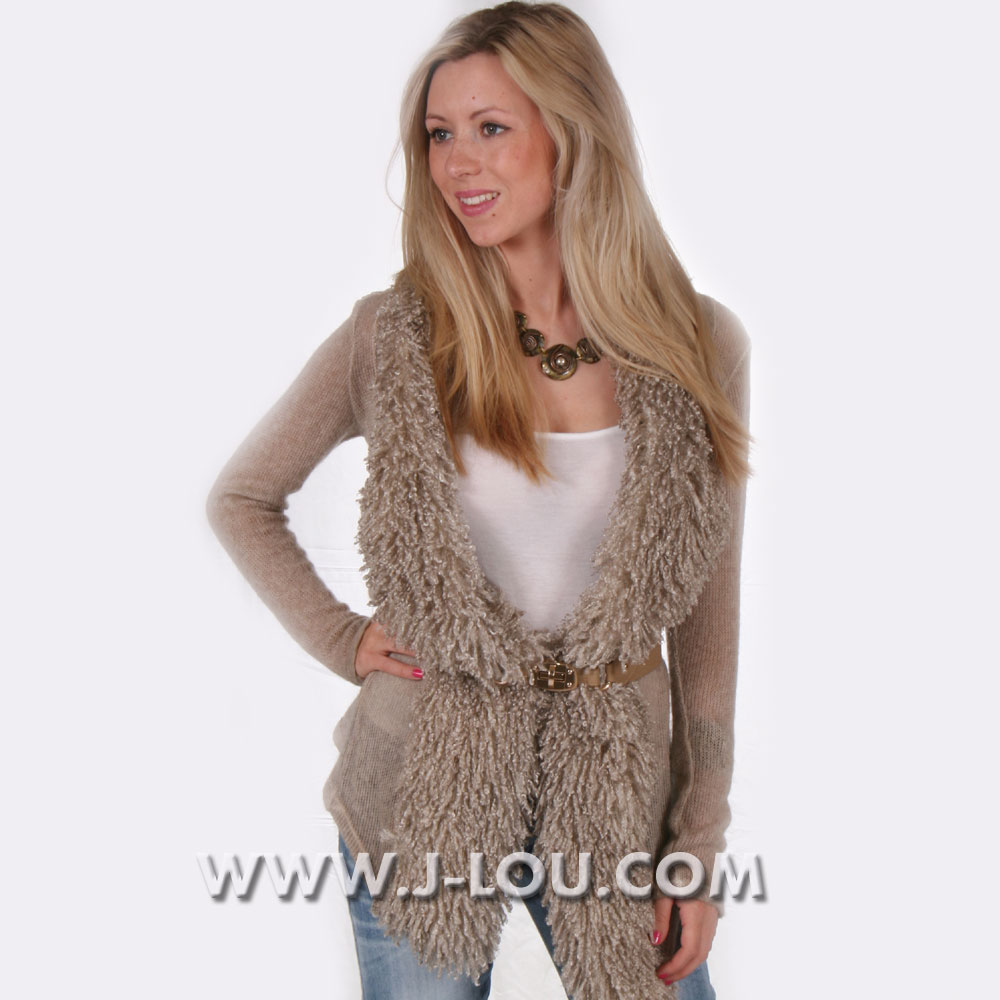 Ladies Cashmere Mohair Sexy Long Natural Cardigan