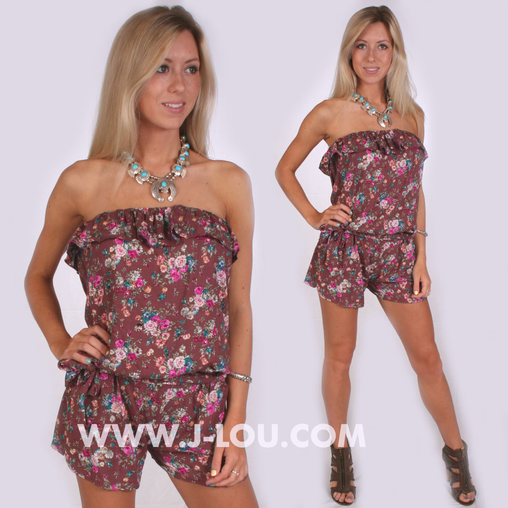 Ladies Mocha Flowered Boho Sexy Shorts Playsuit