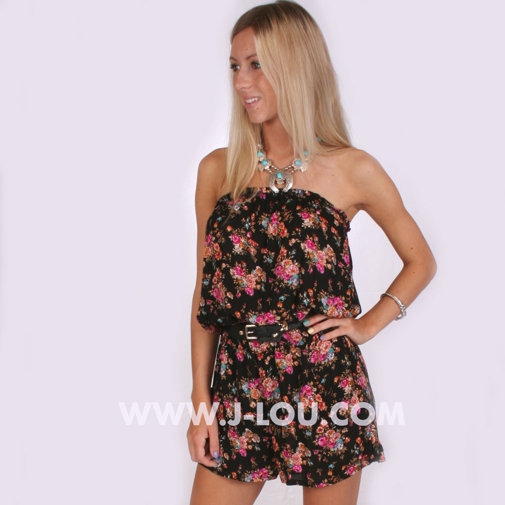 Ladies Floral Belted Boho Sexy Shorts Playsuit