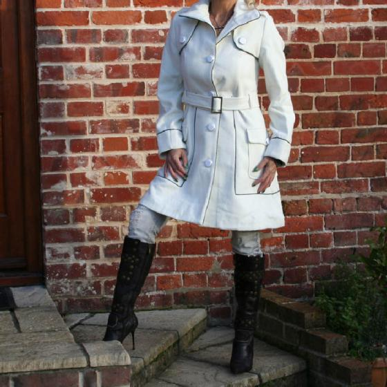 Unique Ladies Sexy Retro White Mono Smart Coat