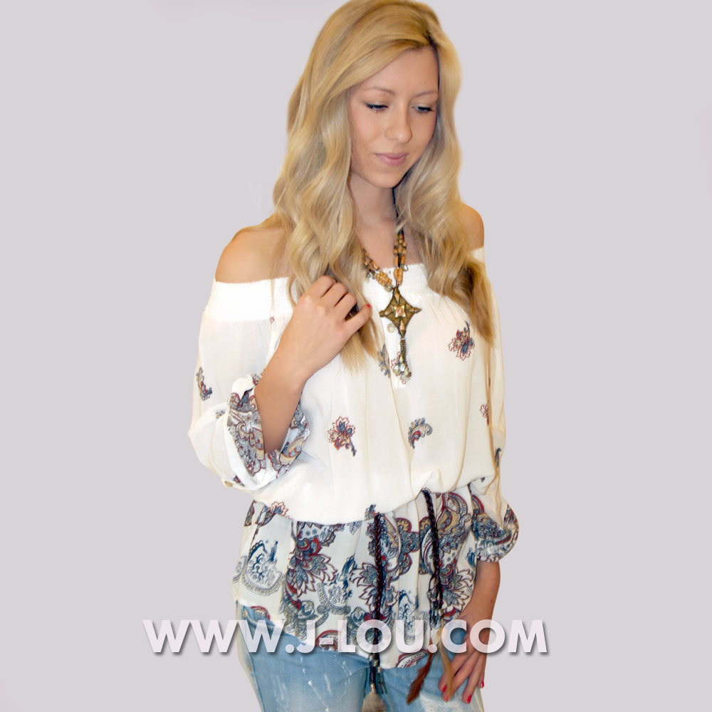 Ladies Aztec White Boho Sexy Top