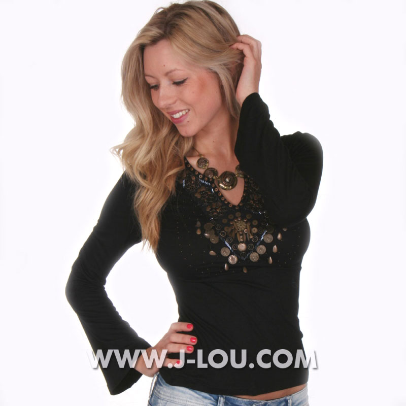 Sexy Ladies Urban Black Boho Embellished Top